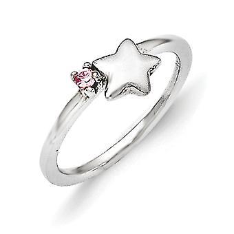 925 sterling silver rosa Cubic zirconia Star barn ring-ring storlek: 3 till 4