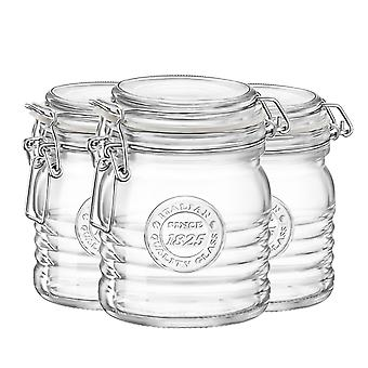 Bormioli Rocco Officina 1825 Glass Storage Jar with Airtight Clip Lid - 350ml - Pack of 3