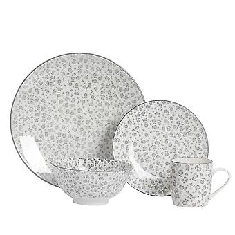 Nicola Spring 24 Piece Daisy Patterned Dinner Set - Dinner Plates, Side Plates, Bowls and Mugs - Grey