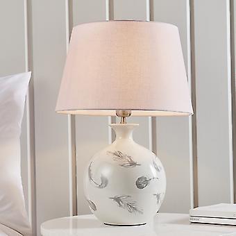 Table Lamp Light Grey Crackle Glaze & Pink Cotton 1 Light IP20 - E27
