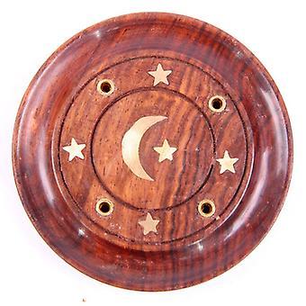 Dekorative Sheesham Holz Runde Ashcatcher Mond und Sterne