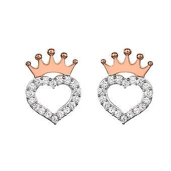 Boucles d'oreilles Disney Princess Heart et Crown Sterling Silver Stud