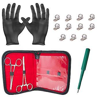 Dermal body piercing kit - 2 forceps w/11 dermal gem tops and bottoms + gloves bj08396