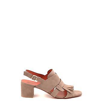 Santoni Ezbc023028 Women's Beige Suede Sandals