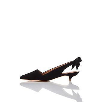 Marca - encontrar. Women's Slingback Leather Camurça Bomba com salto gatinho
