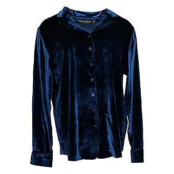BROOKE SHIELDS Timeless Women's Top Velvet Button Front Shirt Blue A344717