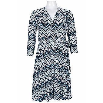 3/4 erme surplice halsen sikksakk print jersey kjole