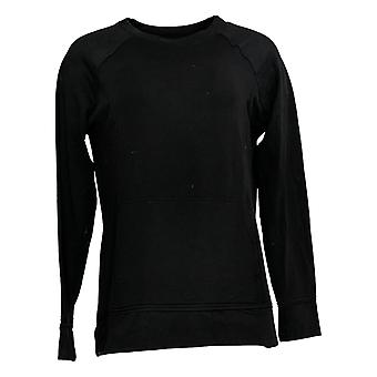Cuddl Duds Women's Top Comfort Wear Raglan Sleeve Pullover Black A368068