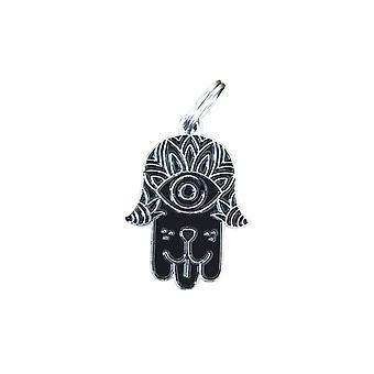 Evcil Hayvan Kimlik Etiketi - Hamsa - Siyah ve Gümüş