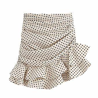 Femmes Summer Vanilla Polka Dot Taille haute Mini Jupe