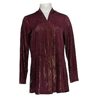 Susan Graver Women's Top Foil Print Long Sleeves Cardigan Purple A343099