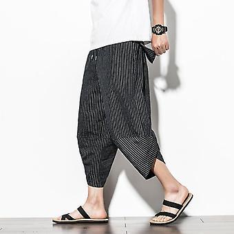 Baggy βαμβάκι χαρέμι παντελόνι, άνδρες καλοκαίρι vintage ριγέ, γυναίκες hip hop ευρύ πόδι