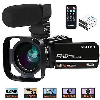 """Câmera de vídeo, câmera de vídeo fhd 1080p 24mp ir visão noturna 3"""" vlogging de tela de toque lcd"""