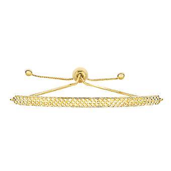 "14K Yellow Gold Diamond Cut Curved Bar Element Anchored on Box Chain Adjustable Bracelet , 9.25"""