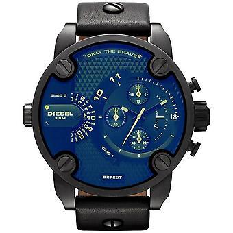 Diesel DZ7257 Bad Ass Chronograph Blue Dial Zwart leder heren's horloge