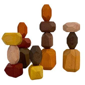 Wooden Stacked Stone Balanced Toy Montessori Education Rainbow Block