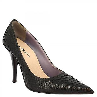 Leonardo Shoes Women's handmade pointed toe high heels pumps shoes in black python leather