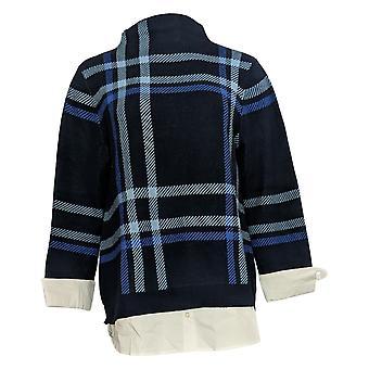 Isaac Mizrahi Live! Women's Plaid Sweater w/ Woven Hem Blue A371848