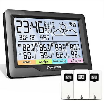 Newentor q5 weather station with 3 sensors temperature wireless indoor outdoor forecast hygrometer humidity with clock and alarm