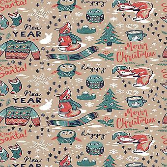 Feliz Año Nuevo Alfombra multicolor impresa en poliéster, algodón, L120xP180 cm