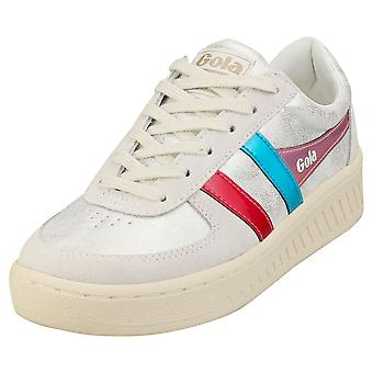 Gola Grandslam Shimmer Flare Womens Platform Trainers in Off White Multicolore