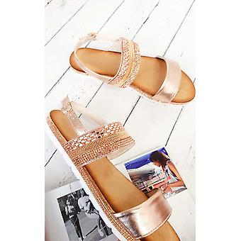 IKRUSH Womens Derya Double Strapped Embellished Sandals