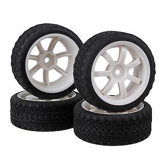 4x hvit plast 7-eiker hjul og høyt grep gummi dekk for RC1: 10 på veien bil