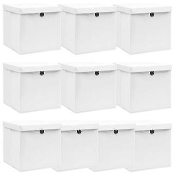vidaXL Aufbewahrungsboxen mit Deckel 10 Stk. Weiß 32×32×32 cm Stoff