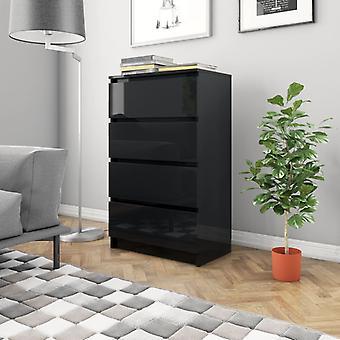 vidaXL Sideboard noir brillant 60x35x98,5 cm plaque de particules