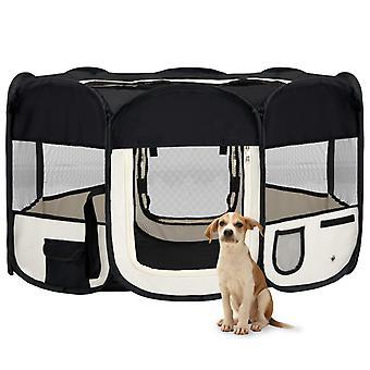 vidaXL Foldable puppy stall with carrying bag Black 145x145x61 cm
