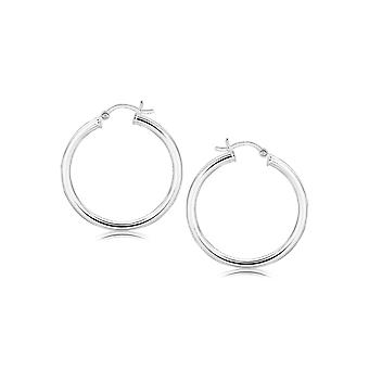 Sterling Silver Hoop Style Earrings with Polished Rhodium Plating (30mm)