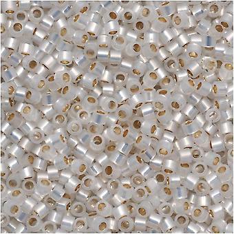 Miyuki Delica Semillas Perlas, 11/0 Tamaño, 7.2 Gramos, Oro Forrado Ópalo Blanco DB221