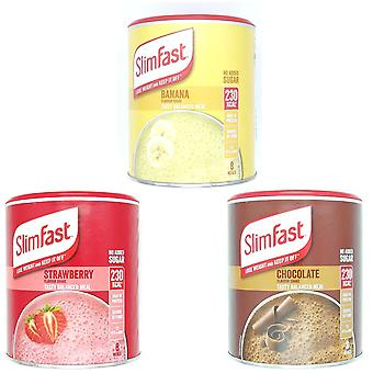 SlimFast KIT Made of High Protein Meal Replacements Shakes (Chocolate 300g, Summer Strawberry 292g, Banana 292g), 3 Flavours in One Handy Kit