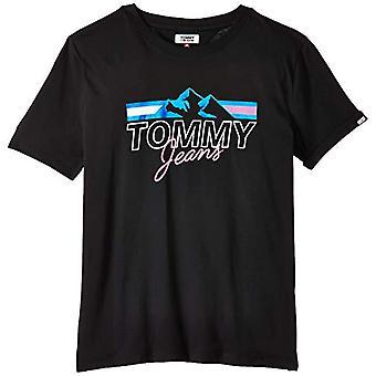 Tommy Jeans Tjw Mountain Flag Tee T-Shirt, Black (Black Bbu), 42 (Size Producer: Medium) Woman
