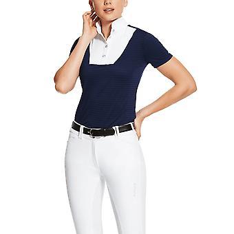 Ariat Womens Lanni 1/4 Zip Short Sleeved Show Shirt - Navy Blue
