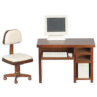 Dolls House Computer Walnut Desk & Chair Miniature Study Office Furniture Set