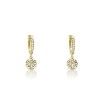 Boho betty balan gold  cz drop huggie earrings