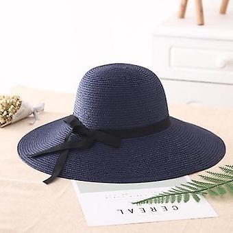 Simple foldable wide brim straw sun beach hat