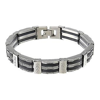 For Punk Black Silicone Silver Stainless Steel Chain Wristband Bracelet for Men WS33919