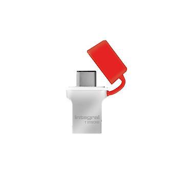 Unidad flash de memoria USB3.0 de 128 GB integral (Memory Stick) Tipo-C Fusion Metal Red