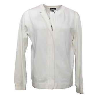 Martha Stewart Women's Sweater Zip-Front White A368048