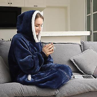 دافئ ودافئ الفانيلا سميكة هودي المتضخم مع الأكمام والجيب العملاق (الأزرق البحري)
