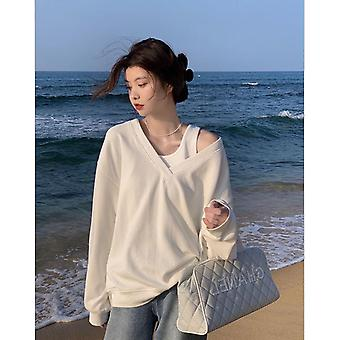 V-neck Women's Spring And Autumn Two-piece Top