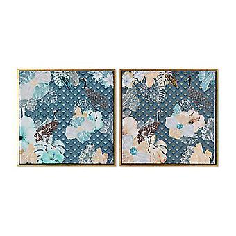 Schilderij DKD Home Decor Vogels Turquoise Gelakt (2 stuks) (52 x 2 x 52 cm)