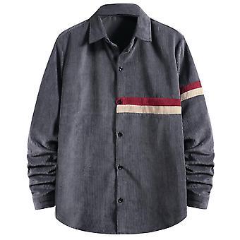 Yunyun Herren Vogue Nähen langärmelige Corduroy Shirt