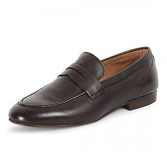 Hudson Bolton Saddle Dark Brown Leather Slip On Loafer Shoes