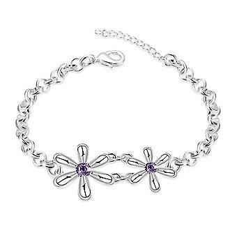2PCS Women Bracelet Silver plating Flowers Bracelets Chain For Women Wedding Jewelry Accessories
