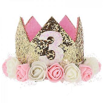 Baby prinses tiara kroon, baby verjaardag hoed (set3)