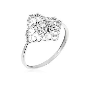 Anillo 'Albay' oro blanco y diamantes