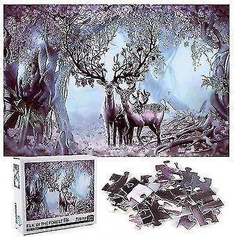 Skladačky 1000 kusov losa v lesnej skladačke puzzle hračky montáž obraz dekorácie darček #4973